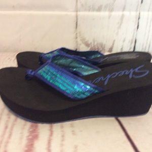 Pretty mermaid sequined flip flops sandals size 11